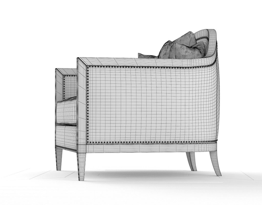 3D Modeling Wireframe Mollis Accent Chair RenderNode