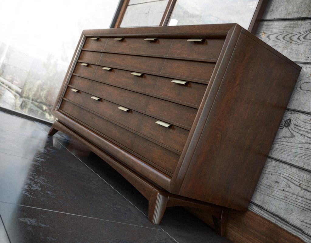 3D Digital Rendering of 9-Drawer Mid-Century Dresser
