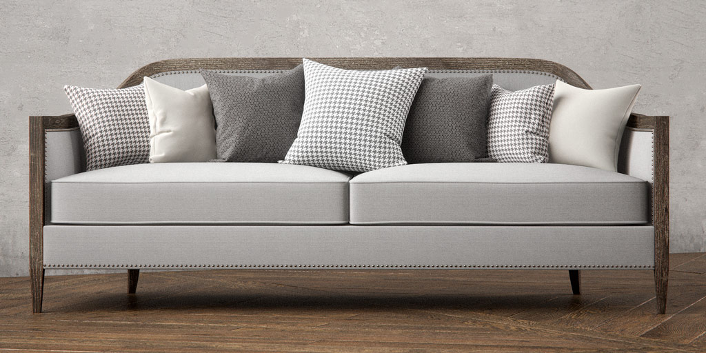 3D Digital Rendering of Mollis Upholstered Sofa with Pillows