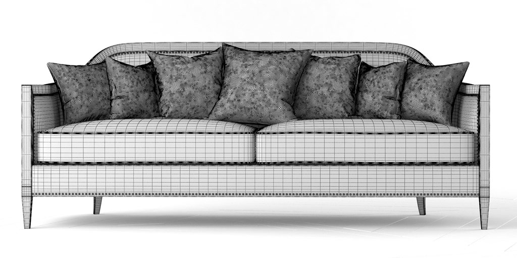Wireframe Rendering of Mollis Upholstered Sofa with Pillows