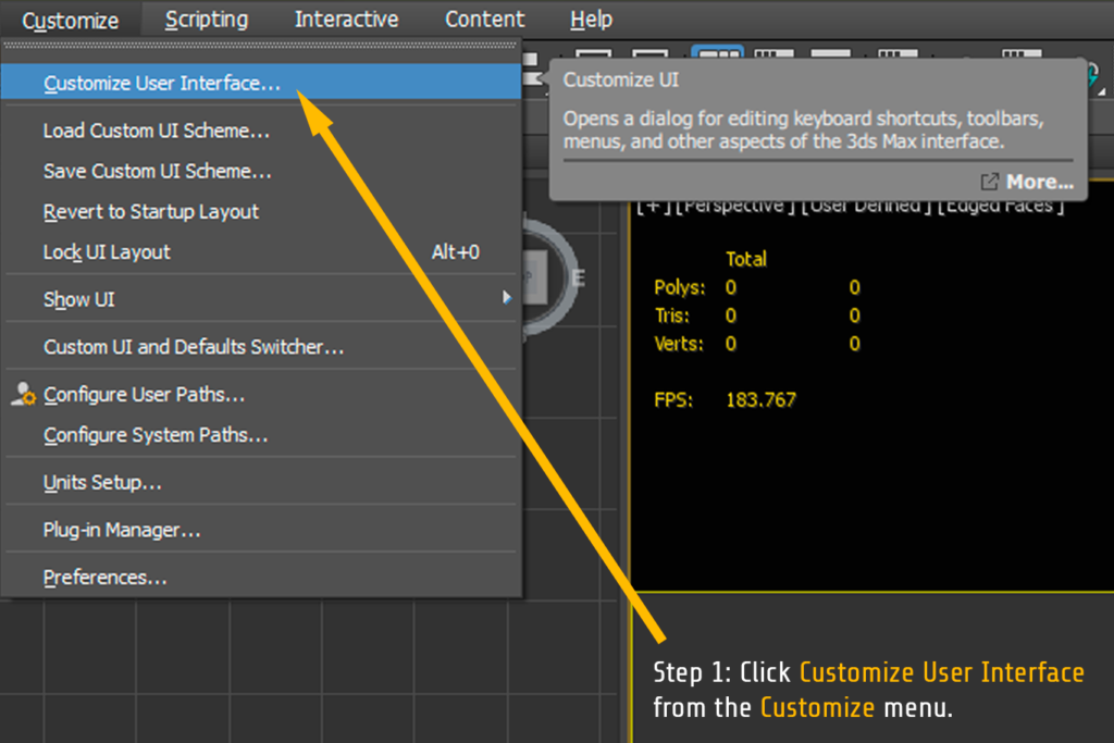 3ds max user interface customization menu rendernode