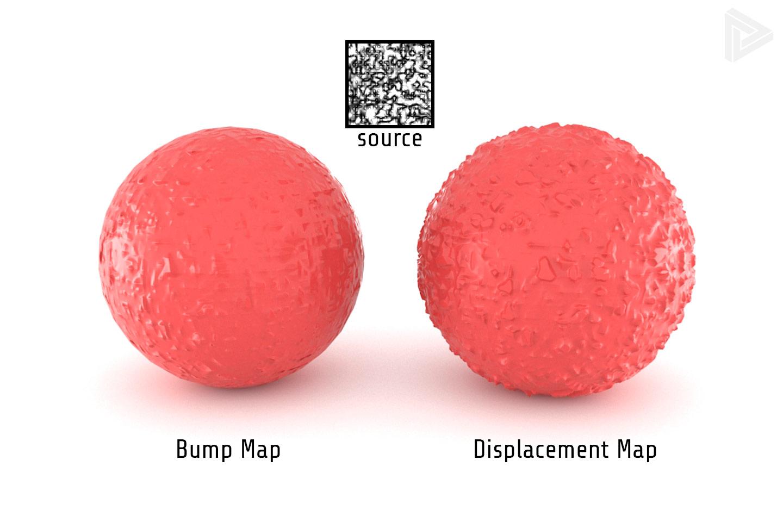 Bump map vs displacement map comparison