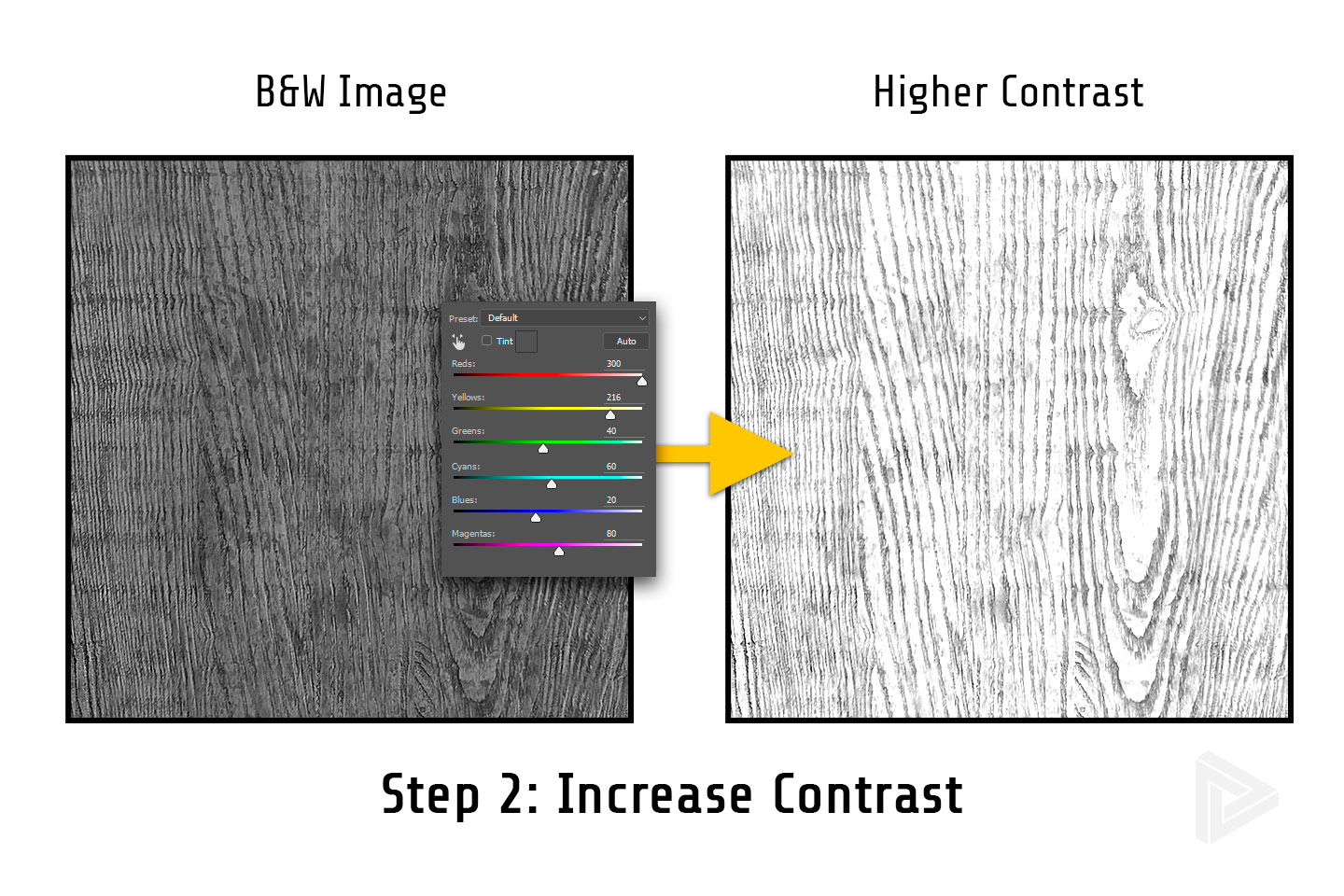 step 2: increase the contrast of the image to make bumpmap in photoshop