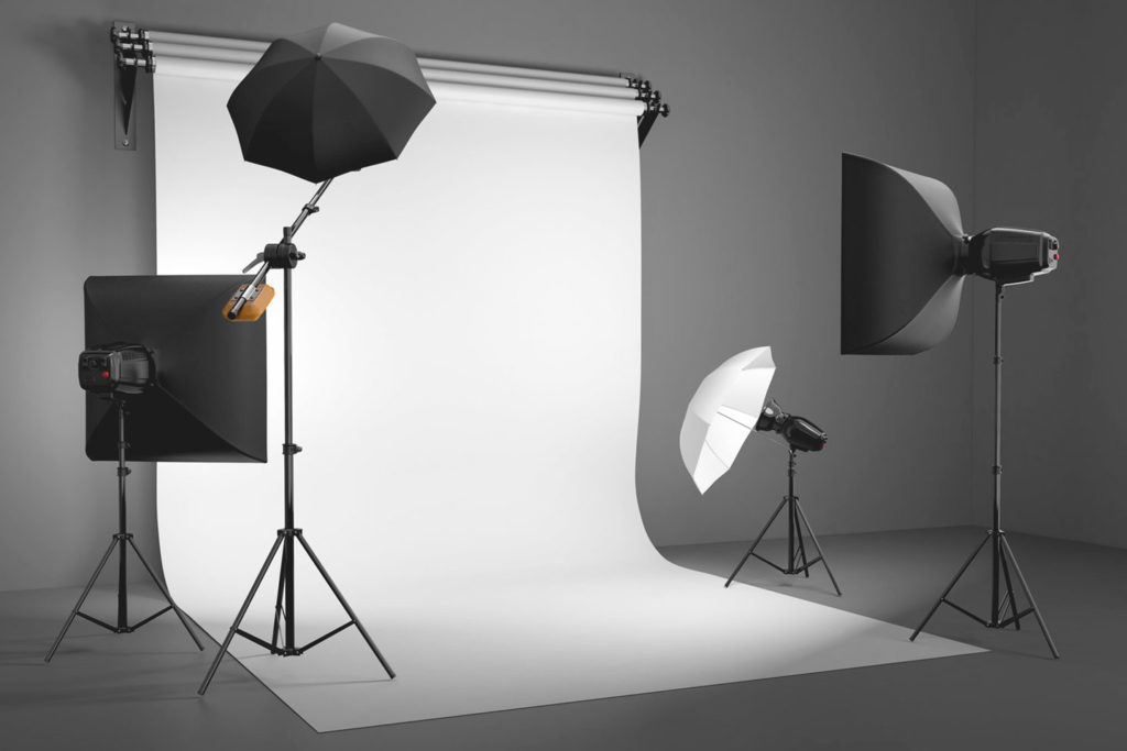 Stock image of a studio lighting setup