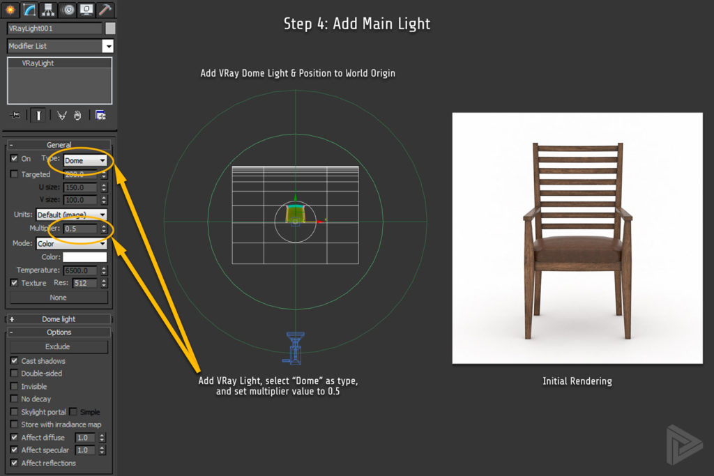 3DS Max Studio Setup Step 4 Add Main Light Rendernode