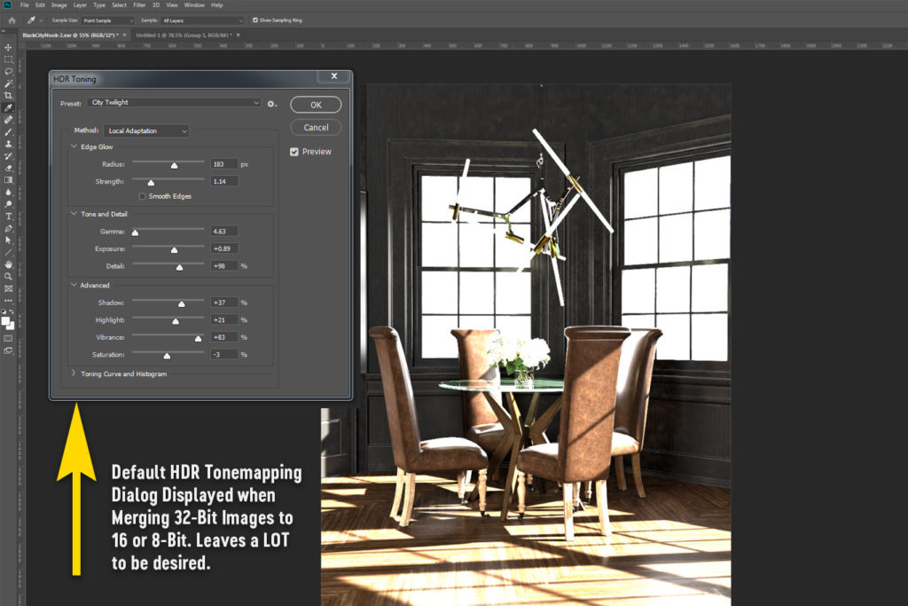 Photoshop's default tonemapping tool for merging 32 bit images down