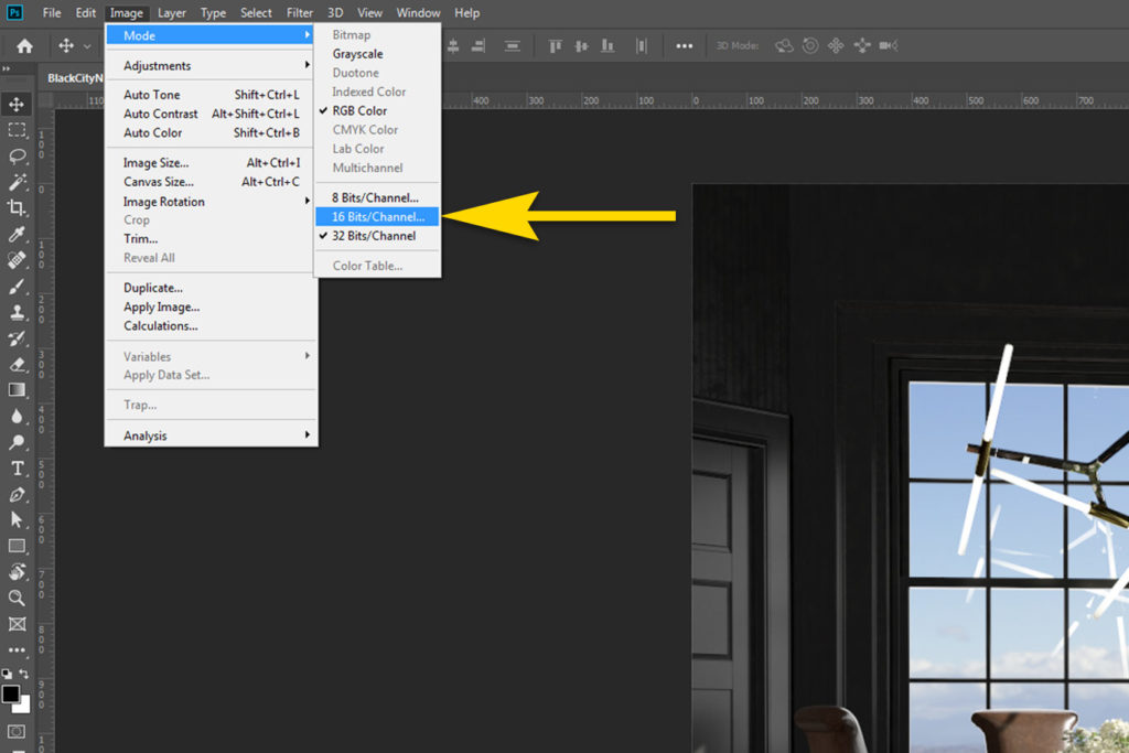Photoshop Merge 32 Bit Image to 16/8 Bit