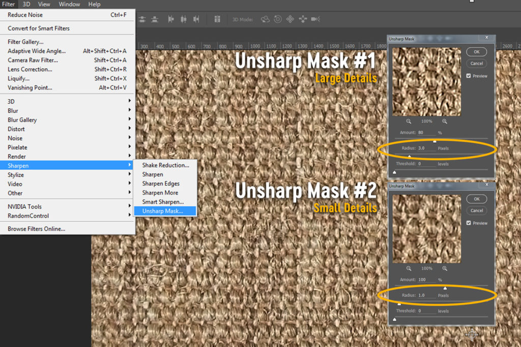 unsharp mask image sharpening