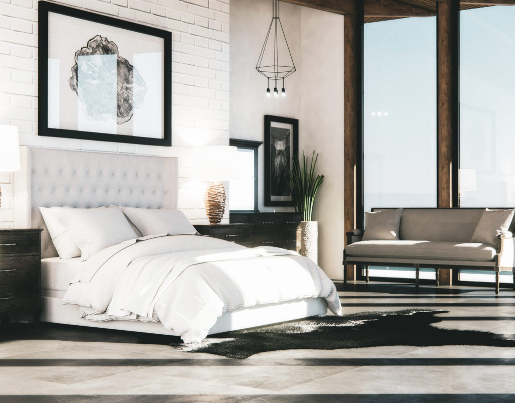 3D rendering of SoCal Bedroom