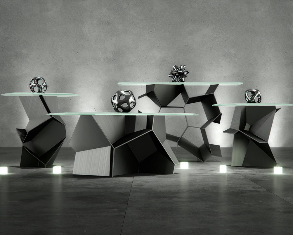 voronoi algorithmic occasional table collection furniture rendering