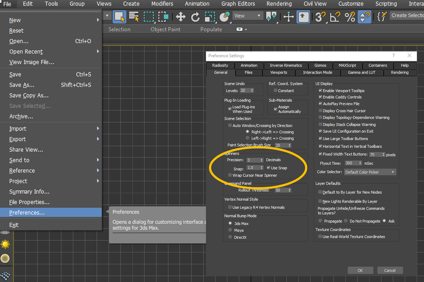 3DS Max Spinner Snaps Settings Menu