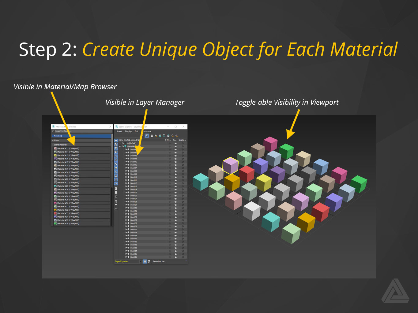 scene material objects layer